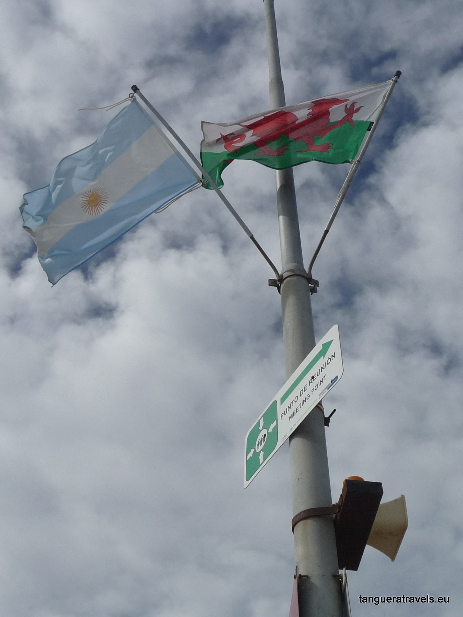 Argentine and Welsh flags at Puerto Madryn