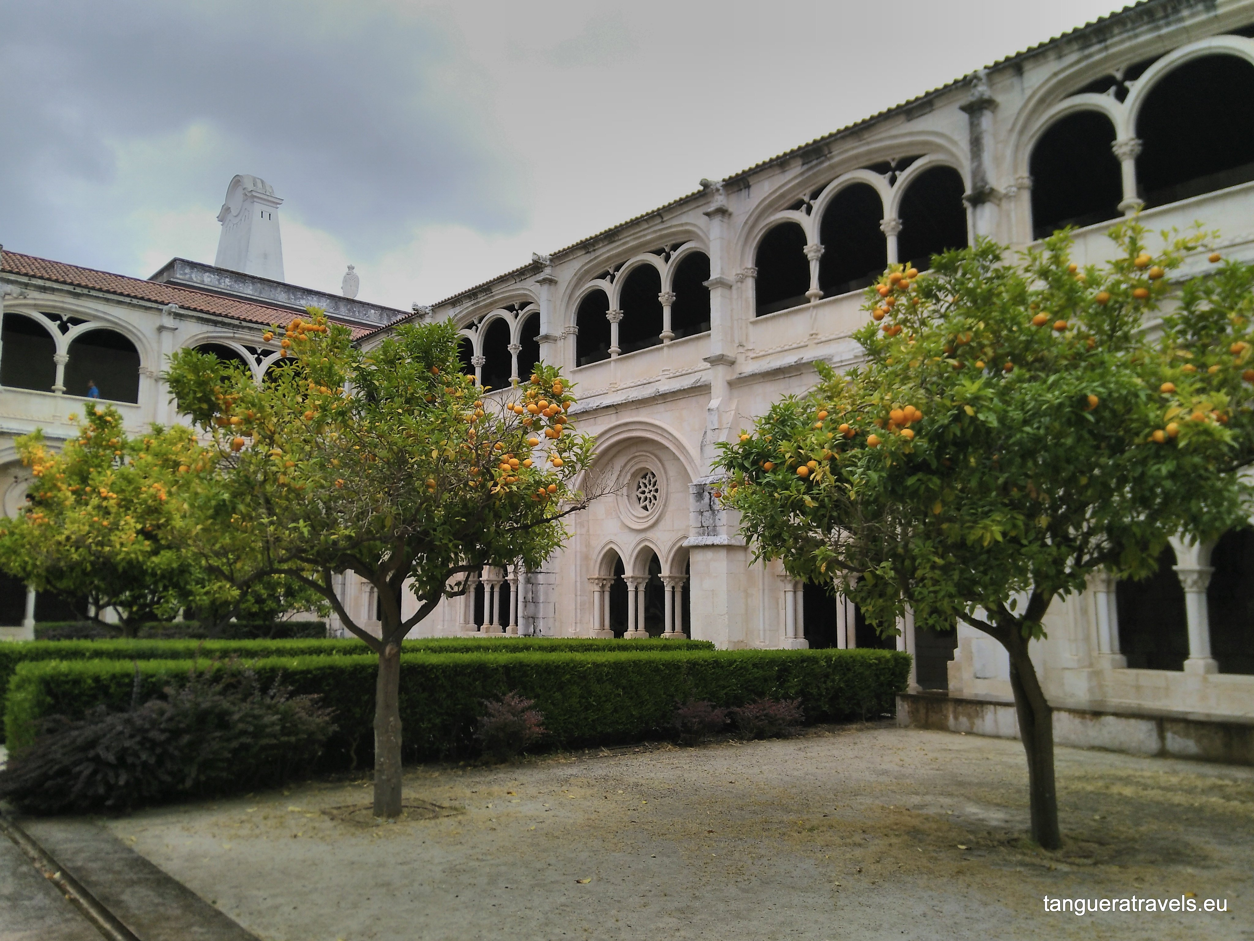 Inner courtyard in Alcobaca with orange trees