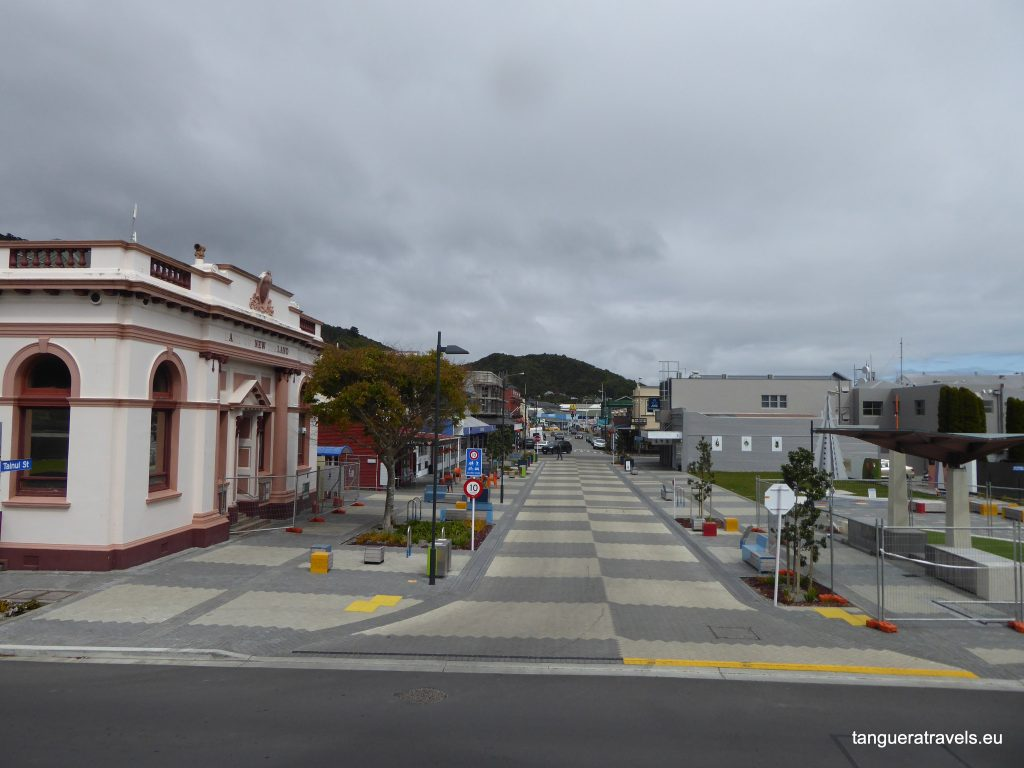 View of Greymouth main street from the river
